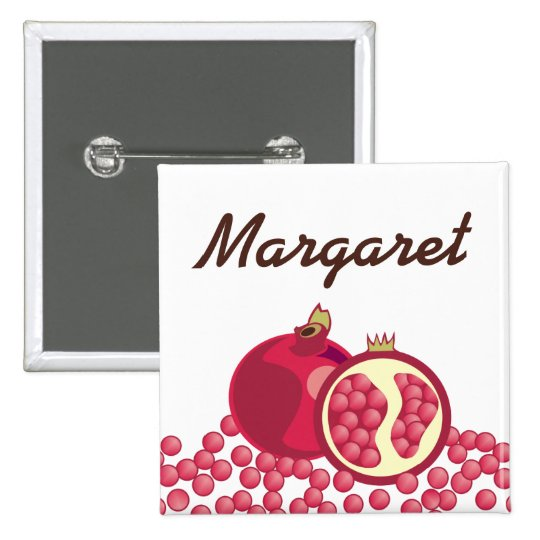 Red pomegranates seeds name badge