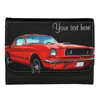 Red Pony Car Leather Wallet For Women