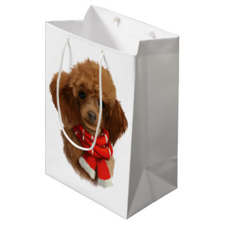 Red poodle medium gift bag