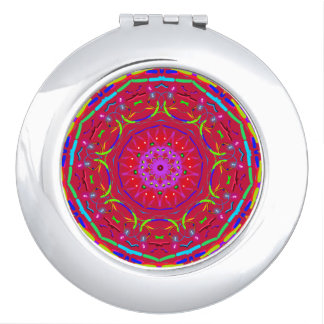 Red PopFlower Mandala Pocket Mirror. Mirrors For Makeup