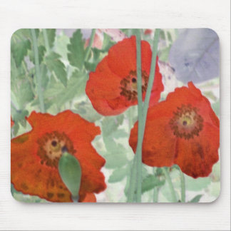 red poppies abstract mousepad