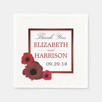 Red Poppies and Burlap Wedding Disposable Serviette