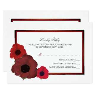 Red Poppies and Burlap Wedding RSVP Card