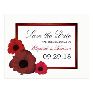 Red Poppies and Burlap Wedding Save The Date Postcard
