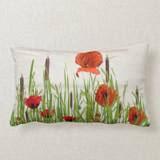 red poppies and cattails lumbar cushion