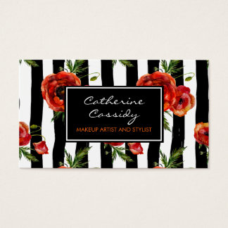 Red Poppies, Black and White Stripe, Makeup Artist