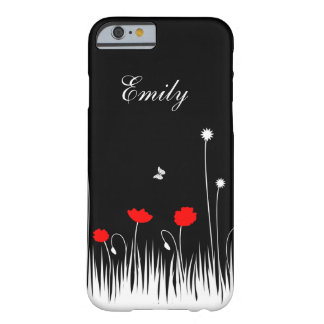 Red poppies black background barely there iPhone 6 case
