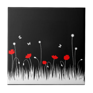 Red poppies black background small square tile