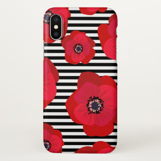 Red Poppies & Black Stripes iPhone X Case