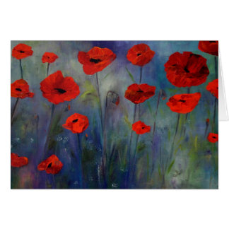 Red Poppies Blue Fog Fine Art Card