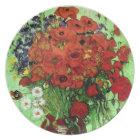 Red Poppies & Daisies Van Gogh Fine Art Plate