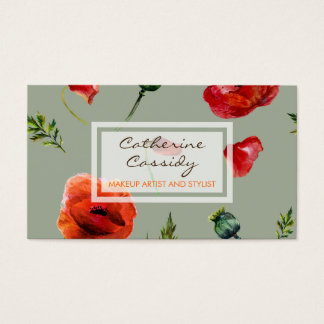 Red Poppies, Feminine Floral, Makeup Artist Business Card