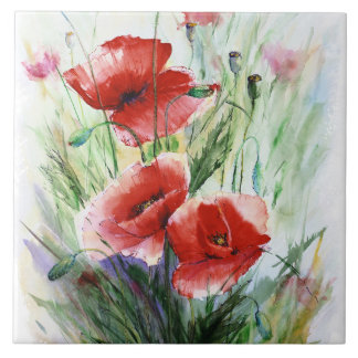 Red Poppies, Fine Watercolor by N.Stangrit Ceramic Tile