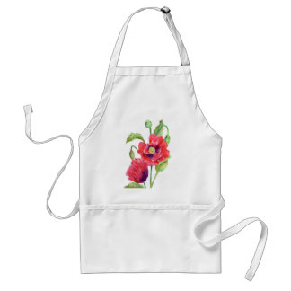 Red Poppies Floral Art Standard Apron