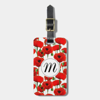 Red Poppies Floral Pattern & Monogram Luggage Tag