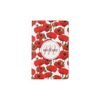 Red Poppies Floral Pattern & Monogram Pocket Moleskine Notebook