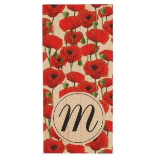 Red Poppies Floral Pattern & Monogram Wood USB Flash Drive