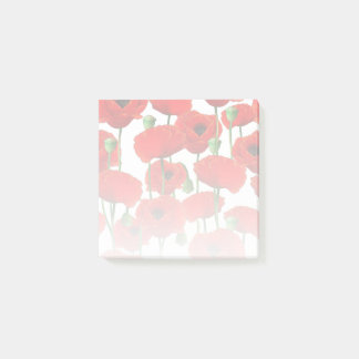 Red Poppies Floral Pattern Post-it Notes