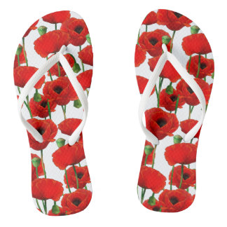 Red Poppies Floral Pattern Thongs