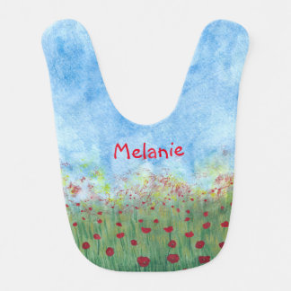 Red Poppies Flowers Field Personalized Baby Bibs