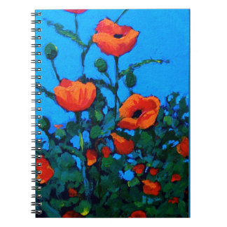 Red Poppies Flowers, Floral: Oil Pastel Art Notebook