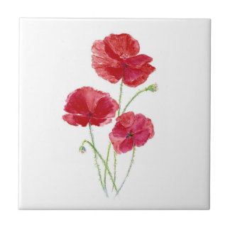 Red Poppies, Garden Flowers, Floral Small Square Tile