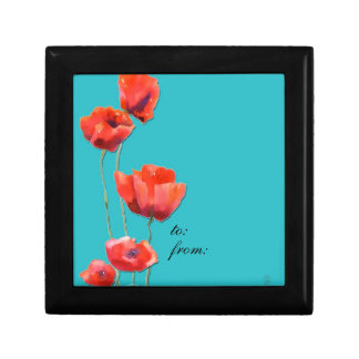 red poppies, gift box, watercolor painting gift box