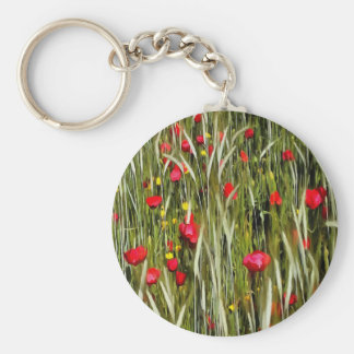 Red Poppies In A Cornfield Key Ring