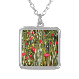 Red Poppies In A Cornfield Silver Plated Necklace