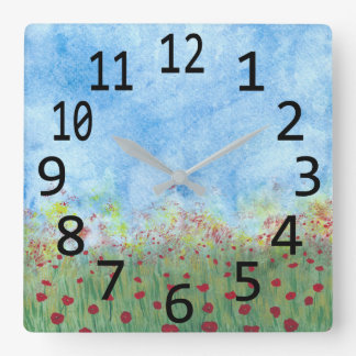 Red Poppies in Field Watercolor Painting Clocks