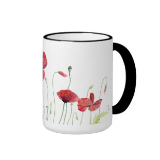Red Poppies in the meadow - Watercolor mug