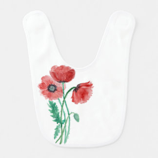 Red poppies in watercolor bib