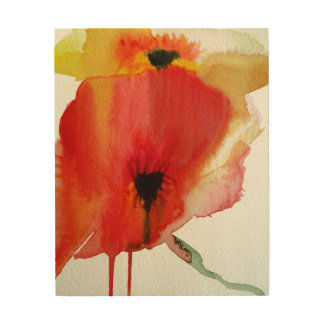 Red Poppies modern fluid flower art