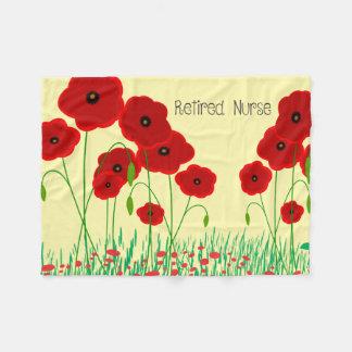 Red Poppies Nurse Retirement Fleece Blanket
