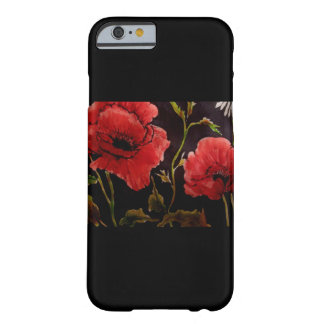 Red Poppies on Black Phone Case