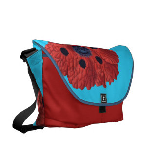 Red Poppies on Blue Courier Bag