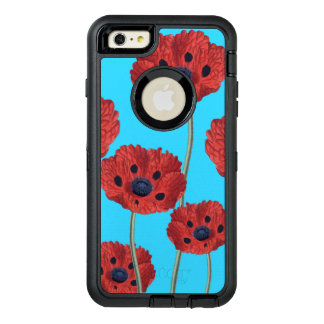 Red Poppies on Blue OtterBox Defender iPhone Case