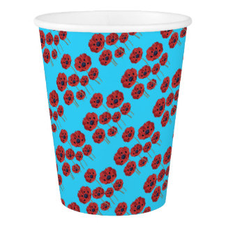 Red Poppies on Blue Paper Cup