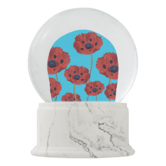 Red Poppies on Blue Snow Globe