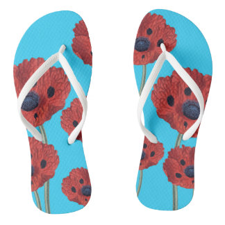 Red Poppies on Blue Thongs
