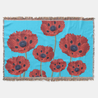 Red Poppies on Blue Throw Blanket