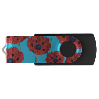 Red Poppies on Blue USB Flash Drive