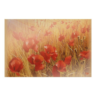 Red Poppies On Canvas Reprints Poster