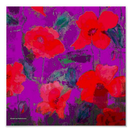 red poppies on purple background poster