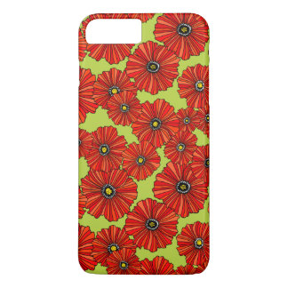Red poppies on sage green iPhone case
