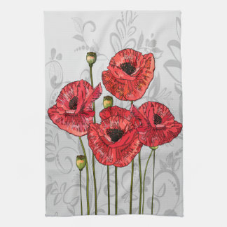 Red Poppies on Whimsical Gray Floral Tea Towel
