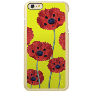 Red Poppies On Yellow