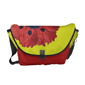 Red Poppies On Yellow Messenger Bag