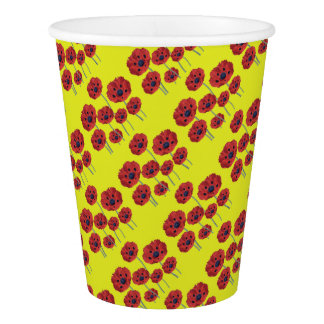 Red Poppies On Yellow Paper Cup