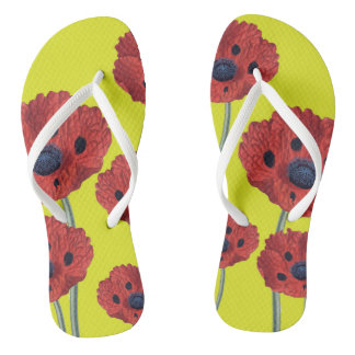 Red Poppies On Yellow Thongs